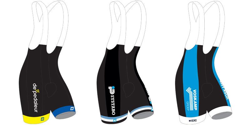 KCC Custom Teamkleding fietsbroek model PURE FULL voorbeelden